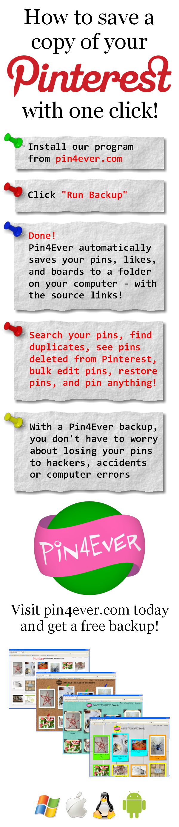 Are your pins protected? Pin4Ever has saved, edited or uploaded 245,912,509 pins since September 2012. Go to pin4ever.com and try it free!